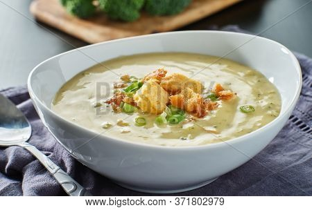 broccoli cheddar soup with croutons bacon and scallions