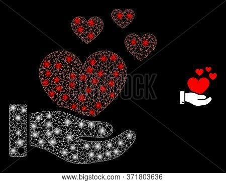 Glowing Web Mesh Hand Offer Love Hearts With Glowing Spots. Illuminated Vector 2d Model Created From
