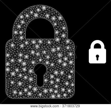 Shiny Web Mesh Lock With Light Spots. Illuminated Vector 2d Model Created From Lock Icon. Sparkle Ca