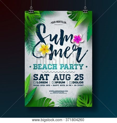 Vector Summer Beach Party Flyer Design With Flower And Tropical Palm Leaves On White Background. Sum