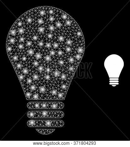 Glowing Web Mesh Lamp Bulb With Glowing Spots. Illuminated Vector 2d Model Created From Lamp Bulb Ic