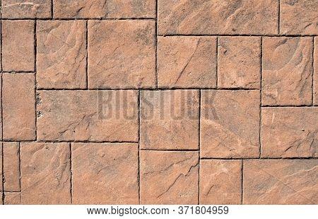 Stamped Concrete Pavement, Slate Stone Tile On Cement Stones Pattern, Exterior Decorative Flooring R