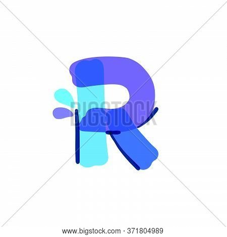 R Letter Logo With Water Drops And Waves. Handwritten With A Felt-tip Pen. Vector Bold Marker Font C