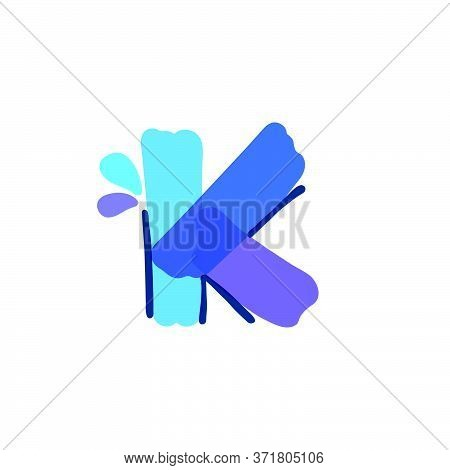 K Letter Logo With Water Drops And Waves. Handwritten With A Felt-tip Pen. Vector Bold Marker Font C