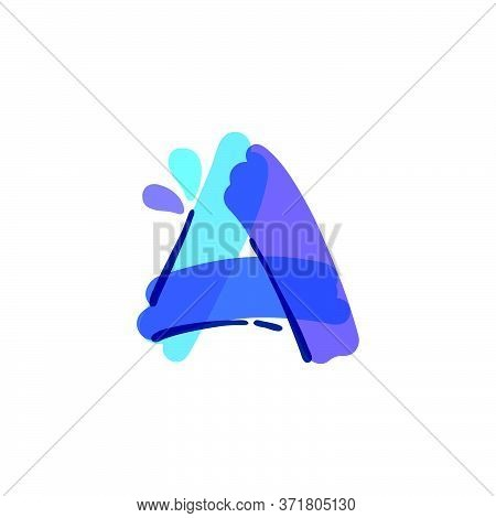 Letter A Logo With Water Drops And Waves. Handwritten With A Felt-tip Pen. Vector Bold Marker Font C
