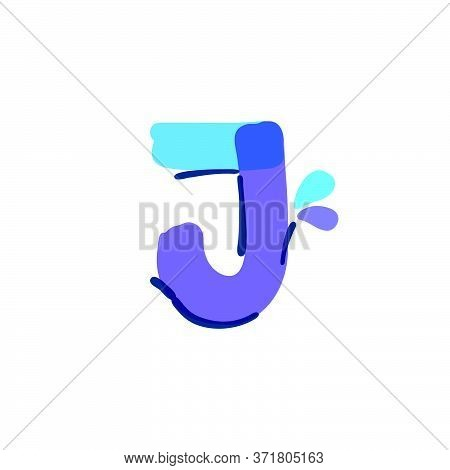 J Letter Logo With Water Drops And Waves. Handwritten With A Felt-tip Pen. Vector Bold Marker Font C