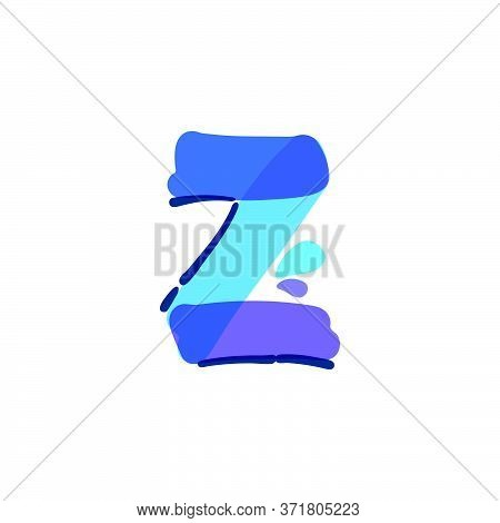 Z Letter Logo With Water Drops And Waves. Handwritten With A Felt-tip Pen. Vector Bold Marker Font C