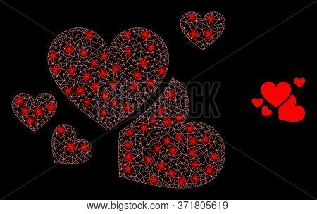 Glowing Web Mesh Love Hearts With Light Spots. Illuminated Vector 2d Constellation Created From Love