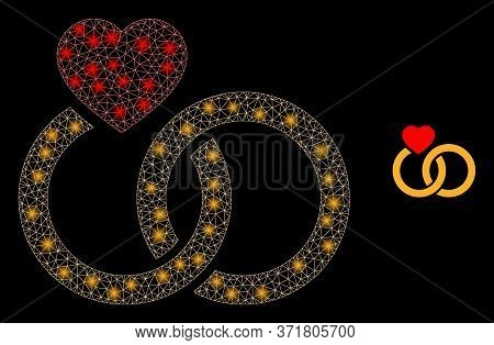 Glare Web Net Marriage Rings With Light Spots. Illuminated Vector 2d Constellation Created From Marr