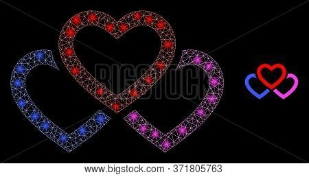 Glare Web Mesh Triple Love Hearts With Glowing Spots. Illuminated Vector 2d Model Created From Tripl