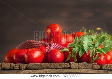 Long Plum Tomatoes With Red Checkered Kitchen Towel On Wooden Table. Heap Of Fresh Tomatoes