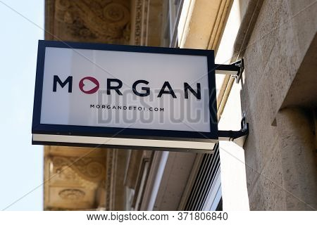Bordeaux , Aquitaine / France - 09 18 2019 : Shop Logo Morgan Storefront Signage In Store Street /