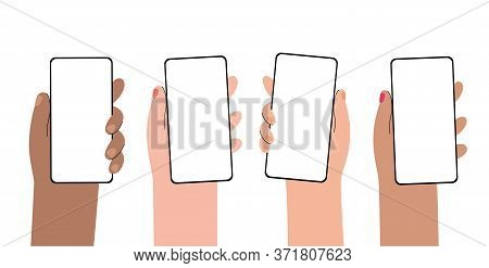 Set Of Male Or Female Multicultural Hands With New Smartphones. Template Or Blank White Screen For A