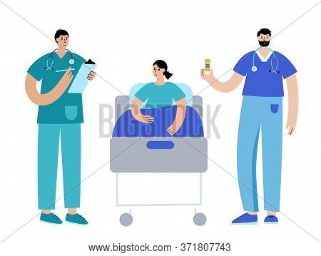 Doctors With Medicament Take Care About Woman Patient In The Ward In Bed. Therapy In Clinic And Hosp