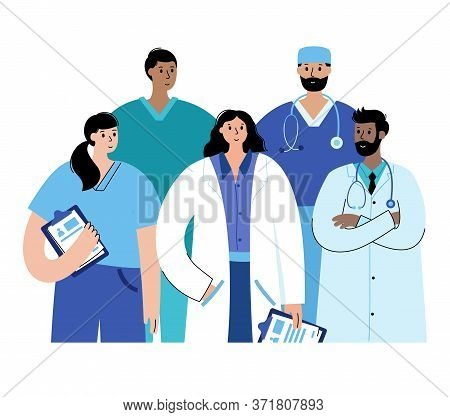 Team Of Doctors Is Ready To Help Patients In Clinics, Hospitals. Set Of Different Medic Specialists.