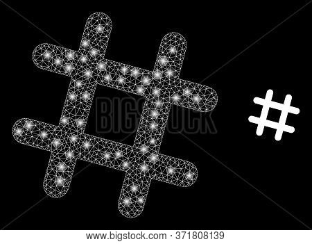 Glare Web Net Jail Grid With Lightspots. Illuminated Vector 2d Constellation Created From Jail Grid
