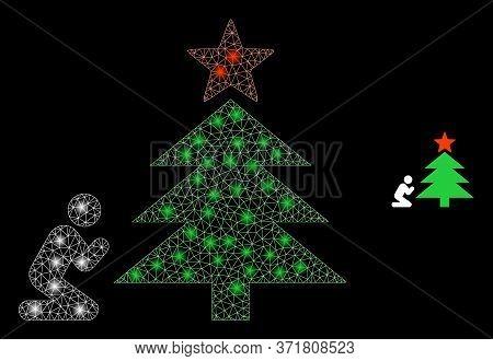 Glare Web Mesh Pray To Christmas Tree With Lightspots. Illuminated Vector 2d Model Created From Pray