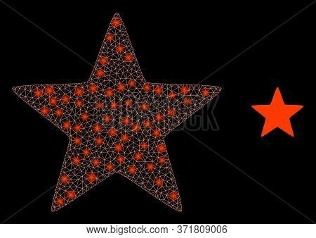 Glare Web Mesh Red Star With Lightspots. Illuminated Vector 2d Model Created From Red Star Icon. Spa