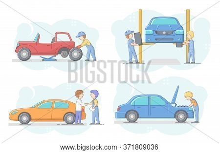 Car Repair Shop Concept. Set Of Professional Mechanics In Uniform Changing Vehicle Tires And Repair