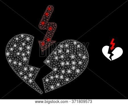 Glowing Web Mesh Breakup Heart With Glowing Spots. Illuminated Vector 2d Constellation Created From