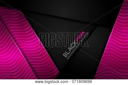 Black And Pink Background Combine With Shinny Textured Effect. Modern Background Design