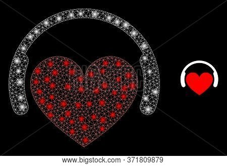 Glare Web Mesh Love Dj With Light Spots. Illuminated Vector 2d Constellation Created From Love Dj Ic