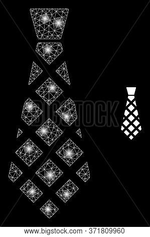Shiny Web Mesh Checkered Tie With Glowing Spots. Illuminated Vector 2d Model Created From Checkered