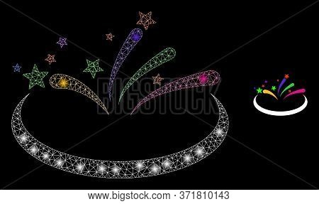 Glowing Web Mesh Fireworks Area With Light Spots. Illuminated Vector 2d Constellation Created From F