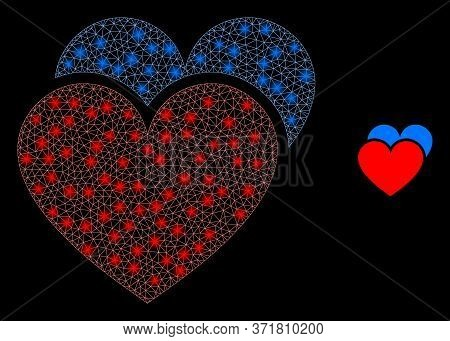 Bright Web Mesh Love Hearts With Lightspots. Illuminated Vector 2d Model Created From Love Hearts Ic