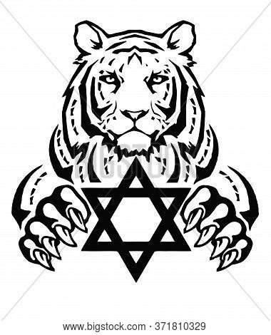 The Tiger And The Symbol Of Judaism - Star Of David, Megan David, Drawing For Tattoo, On A White Bac