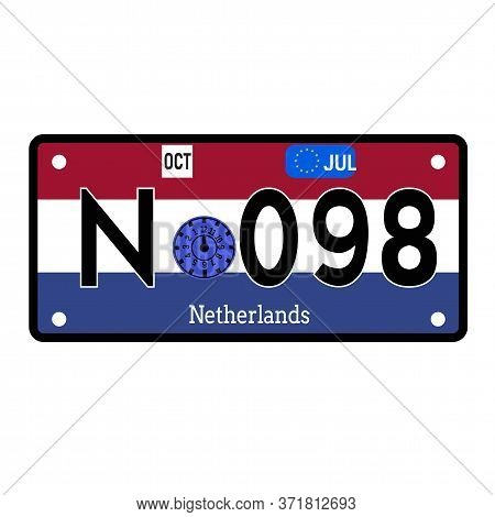 Netherlands Automobile License Plate On White Background. Country License Plate Series.