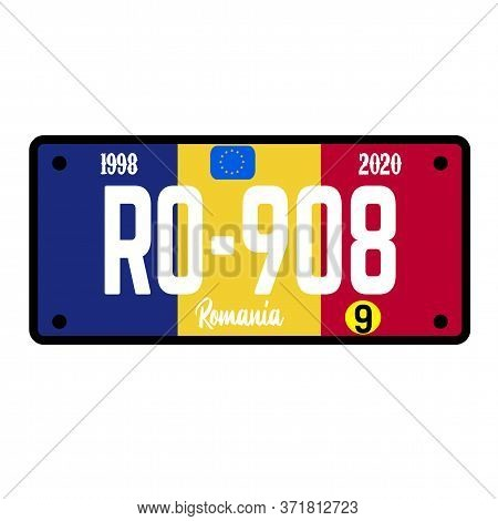 Romania Automobile License Plate On White Background. Country License Plate Series.