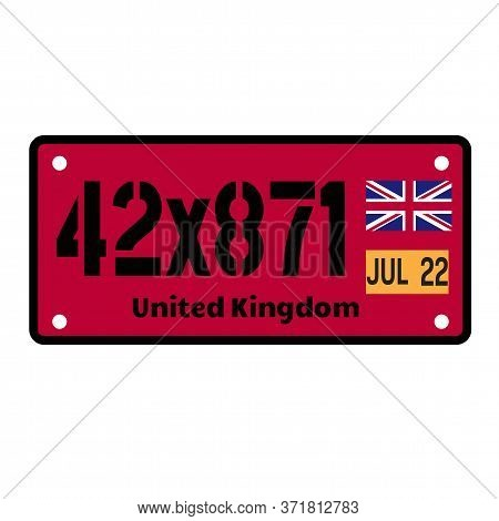 United Kingdom Automobile License Plate On White Background. Country License Plate Series.