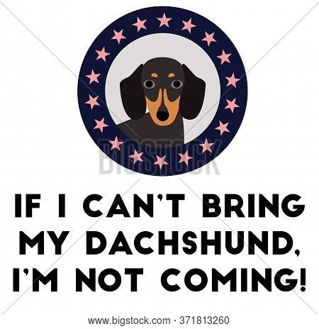 If I Can Not Bring My Dachshund, I Am Not Coming , Illustration On White Background