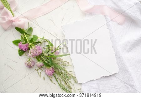Wedding Mockup With Pink Flowers And Delicate Silk Ribbons On A White Background. Greeting Card Or W