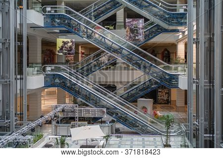Voronezh, Russia - June 2020 : Empty Large Mall Or Trade Center With Closed Stores And Without Peopl