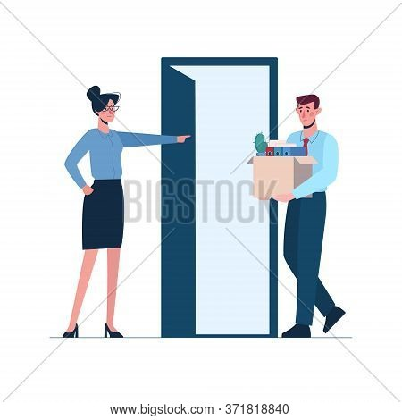 Woman Boss Leaves A Man Without Work. Fired Person Leaves The Office With A Box In His Hands. Job Lo