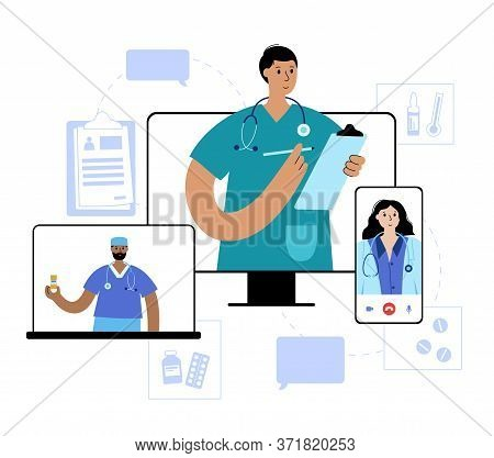 Doctors Team Gives Medicines And Prescription To A Patient Via Smartphone Or Laptop. Flat Vector Ill