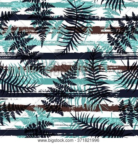 Trendy New Zealand Fern Frond And Bracken Grass Overlapping Stripes Vector Seamless Pattern. Caribbe