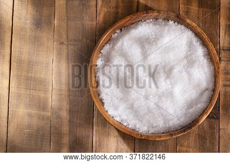 Magnesium Chloride In The Wooden Bowl - Text Space