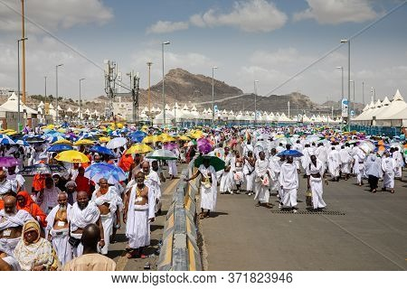 Hajj Pilgrims Walking, Day Time, Performing Hajj, Mina, Makkah, Saudi Arabia, August 2019