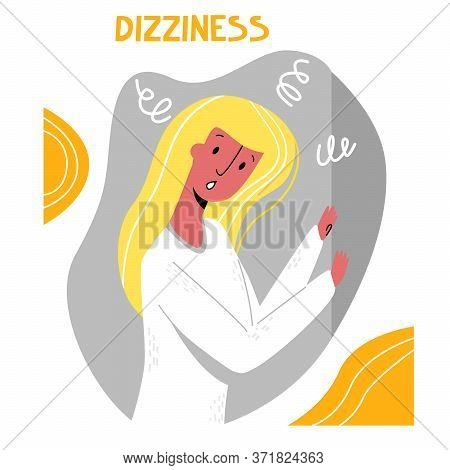 Vector Flat Illustration Woman Holding On To Wall.