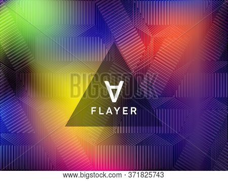 Magic Poster Glitch Holographic Vector Layout Design. Abstract Wallpaper With Holo Texture. Bright G