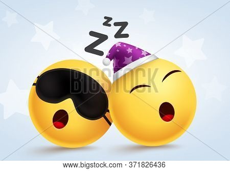 Emoji Sleep Vector Design. Emojis Sleeping Tired And Snoring Character With Eye Mask And Hat Element