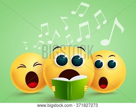 Emojis Singing Choir Vector Design. Emoji With Yellow Funny Faces Holding Song Book Singing In Choir