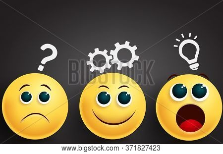 Emoji Problem Solving Team Vector Design. Emoji Yellow Face Group In Brainstorming Thinking Ideas In