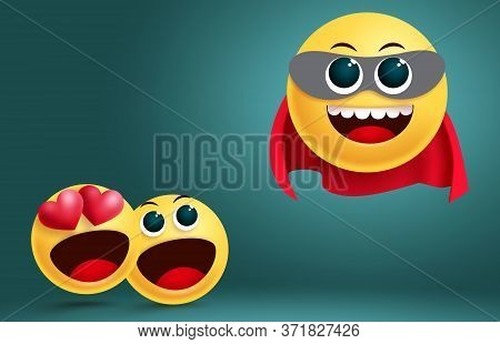 Emoji Super Hero Vector Design. Fiction Hero Emoji Brave Character Flying With Mask And Red Cap With