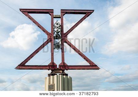 Closeup Of A Memorial At The Moerdijk Bridge In The Netherlands