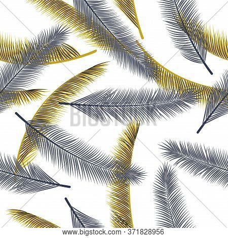 Floral Feather Plumage Vector Ornament. Cute Illustration. Airy Natural Feather Plumage Wrapping Pap