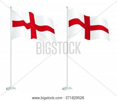 Flag Of England On Flagpole Waving In The Wind. Holiday Design Element. Checkpoint For Map Symbols.